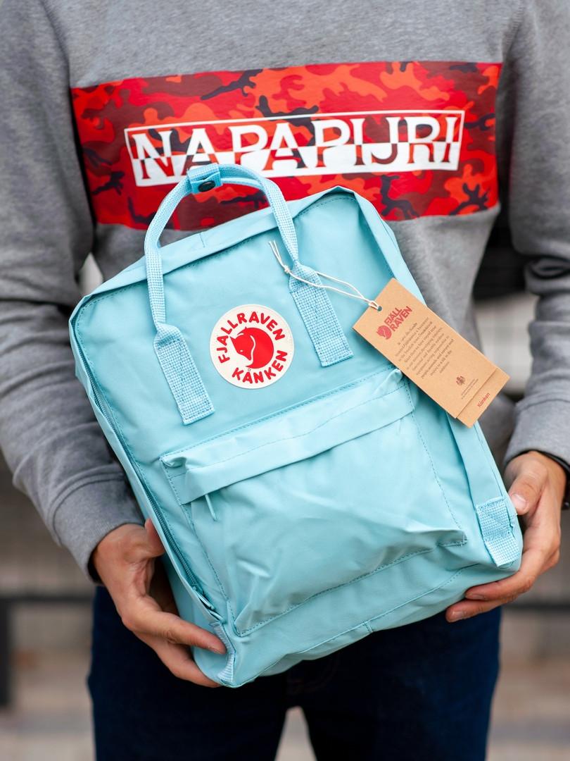 Стильный рюкзак Fjallraven Kanken голубой / Портфель для школы и на каждый день