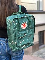 Стильный рюкзак Fjallraven Kanken зелёный с принтом/ Портфель для школы и на каждый день