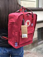 Стильный рюкзак Fjallraven Kanken бордовый/ Портфель для школы и на каждый день, фото 1