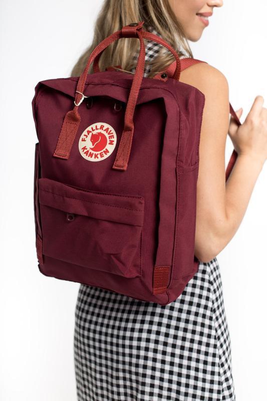 Стильный рюкзак Fjallraven Kanken бордовый/ Портфель для школы и на каждый день