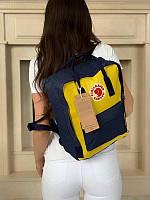 Стильный рюкзак Fjallraven Kanken синий с жёлтым/ Портфель для школы и на каждый день, фото 1
