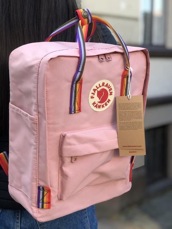 Стильный рюкзак Fjallraven Kanken розовый/ Портфель для школы и на каждый день