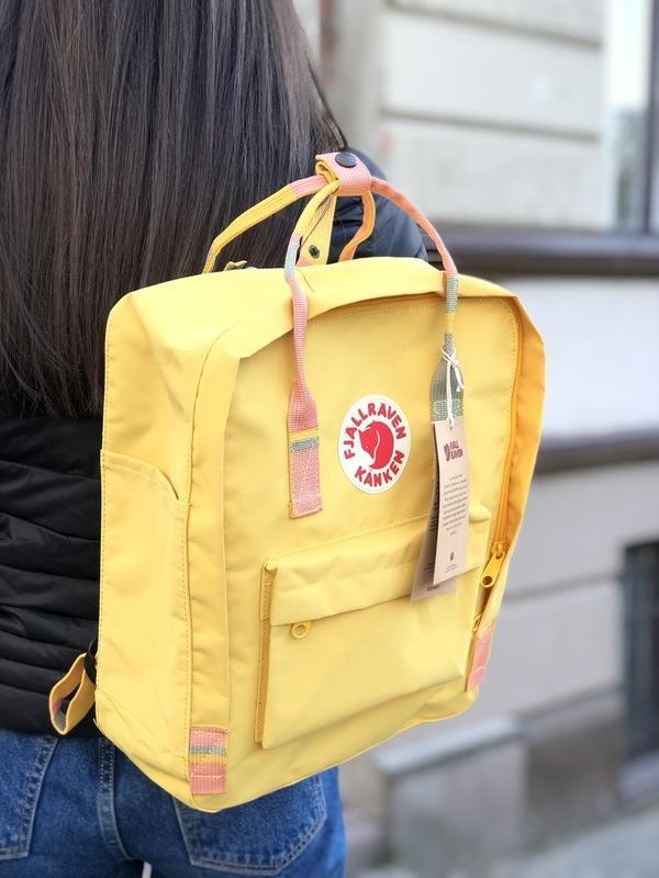 Стильный рюкзак Fjallraven Kanken жёлтый/ Портфель для школы и на каждый день