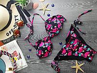 Купальник раздельный на завязках принт фламинго Купальник розовый яркий молодёжный цветной трендовый - 135-43