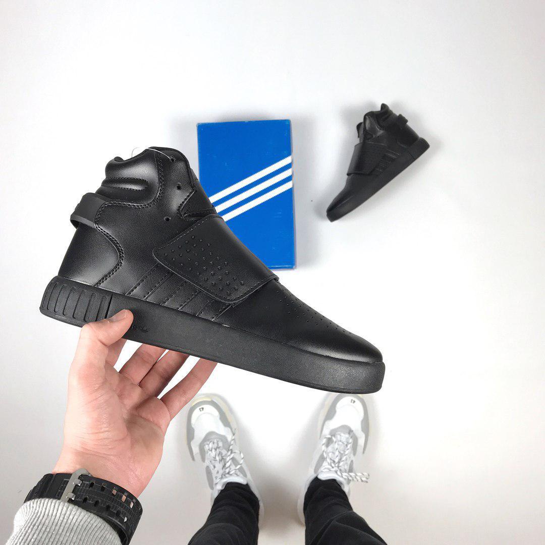Мужские кроссовки Adidas Tubular Invander Black leather, Копия