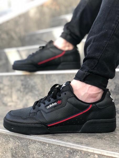 Мужские кроссовки Adidas Continental 80 чёрные. Размеры (40,41,42,43,44,45)