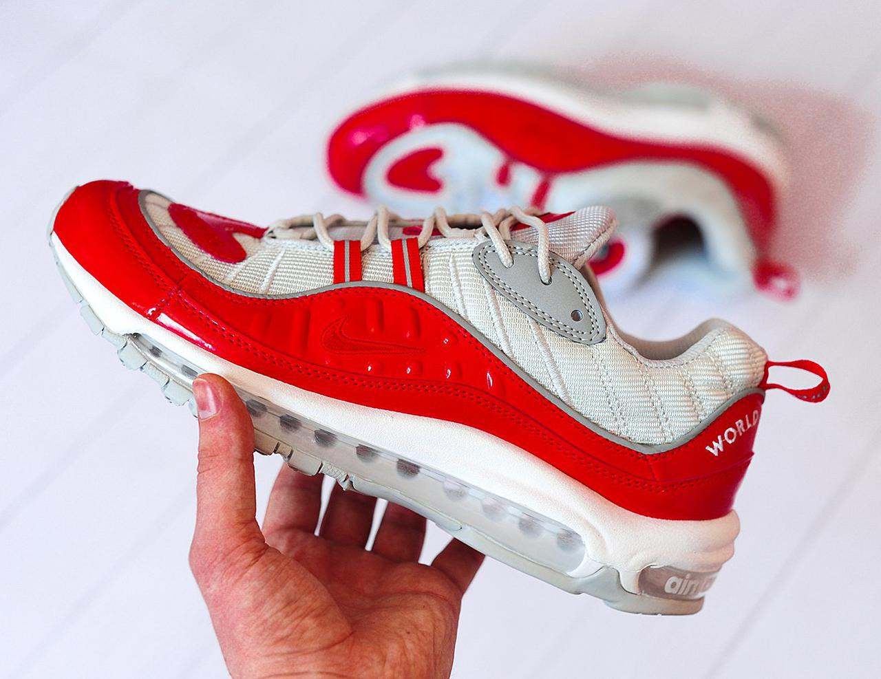 Мужские кроссовки Nike Air Max 98 Supreme Red Grey, Копия