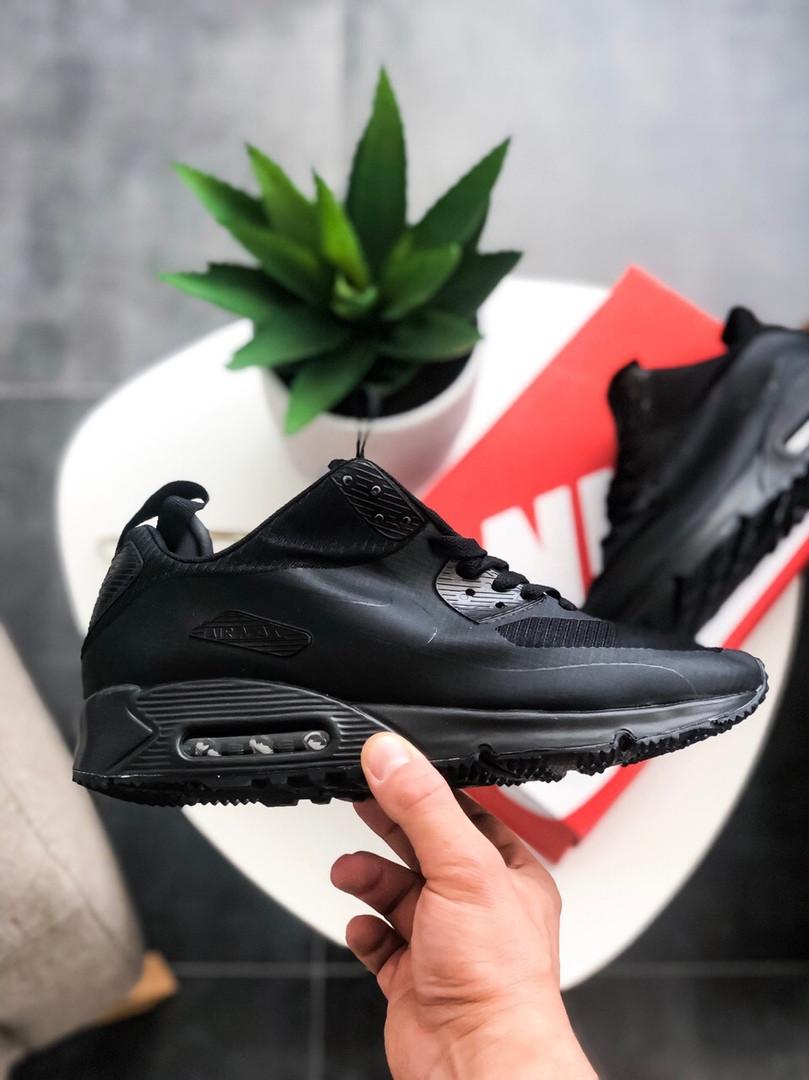 "Мужские кроссовки Nike Air Max 90 Mid Winter ""Black"" зима, чёрные. Размеры (41,42,43,44,45)"