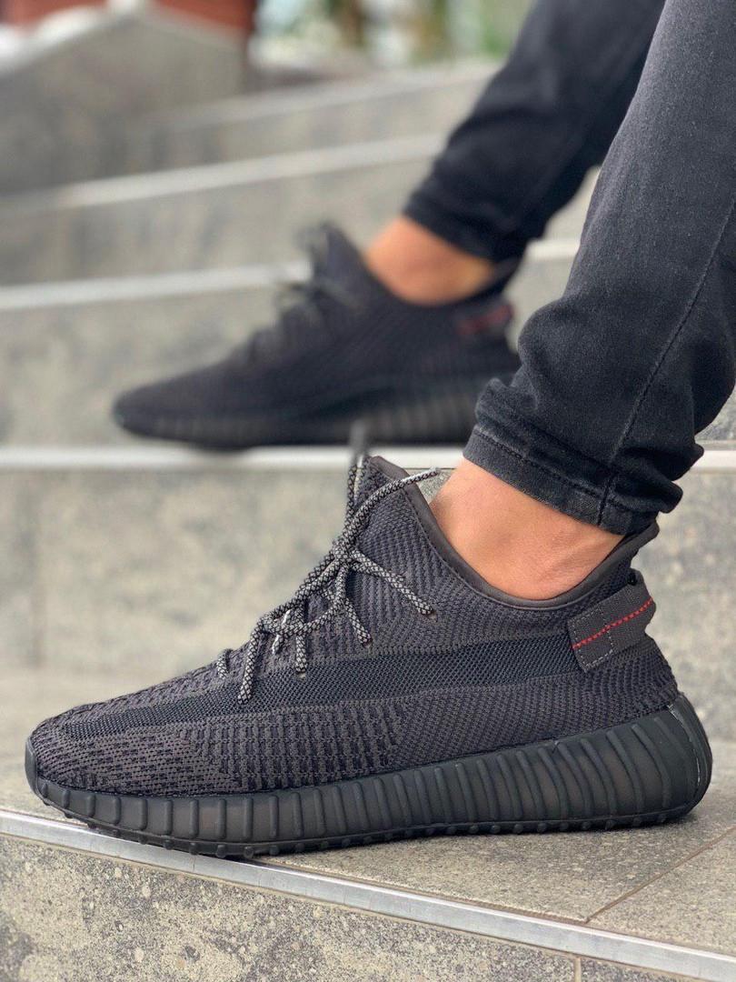 Мужские кроссовки Adidas Yeezy 350 v2 black reflective, чёрные. Размеры (36,37,38,39,40,41,42,43,44,45)