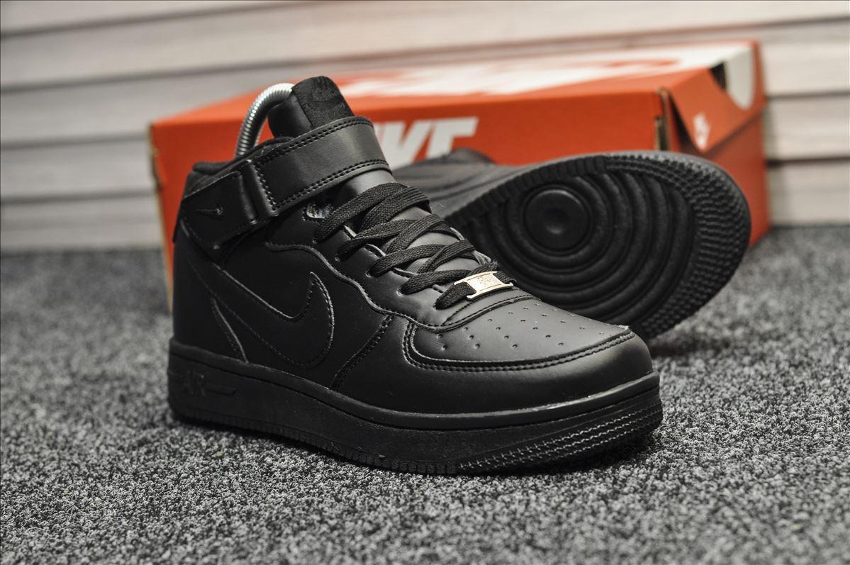 Мужские кроссовки Nike Air Force Black Winter (на меху) зима, чёрные. Размеры (37,38,39,40,41,42,43,44,45)