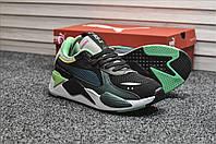 Мужские кроссовки Puma RS-X Black Green, серо-зелёные. Размеры (41,42,43,44)