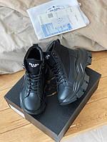 Мужские кроссовки Prada Milano Sneakers Block Triple Black, чёрные. Размеры (36,37,38,39,40,41,42,43,44)