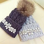 Женская теплая шапка с камнями (4 цвета), фото 2