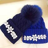 Женская теплая шапка с камнями (4 цвета), фото 3