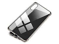 Магнітний чохол для iPhone з загартованого скла iPhone XS Max Срібло