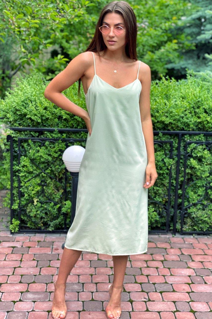 Платье-комбинация длины миди на тонких бретелях  Vistyle - мятный цвет, L (есть размеры)