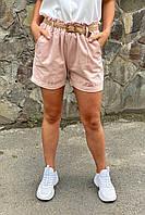 Жіночі літні шорти з плетеним поясом YJX - пудра колір, L (є розміри), фото 1