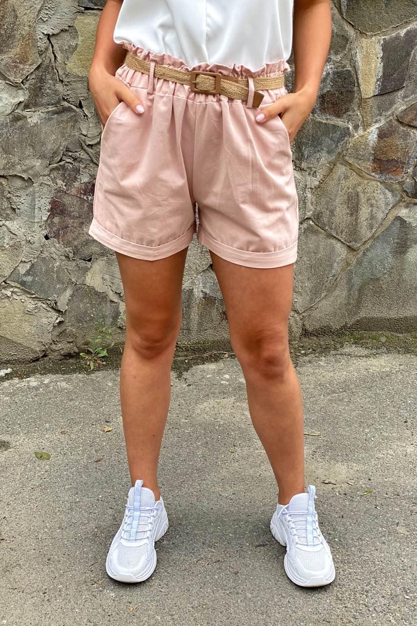 Жіночі літні шорти з плетеним поясом YJX - пудра колір, L (є розміри)
