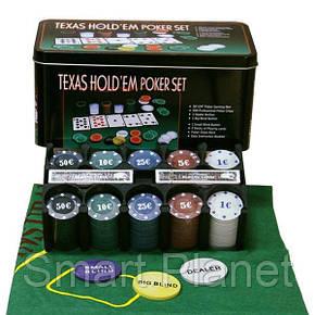 Набор Для Покера на 200 фишек и Игровым Сукном, фото 2
