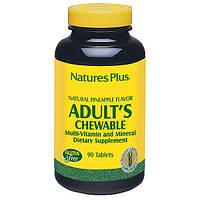 Жевательные Мультивитамины для Взрослых, Вкус Ананаса, Natures Plus, 90 жевательных таблеток