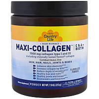 Коллаген 1 и 3 Типов + Биотин, Maxi Collagen, Country Life, 7,5 унций (210 гр)