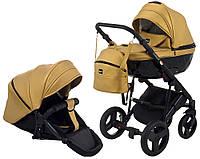 Детская универсальная коляска 2 в 1 для новорожденных всесезонная Bair Crystal 100% кожа BC-40 Золотой перламутр с черным