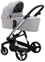 Детская коляска для новорожденных универсальная 2 в 1 всесезонная Ibebe i-stop Chrome IS6 Серый