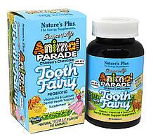 Пробиотик для Здоровья Зубов и Полости Рта для Детей, Вкус Ванили, Tooth Fairy, Animal Parade, Natures Plus, 90 жевательных таблеток