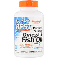 Рыбий жир Омега-3, Doctor's Best, Omega 3 Fish Oil with Goldenomega, 1000 мг, 120 капсул