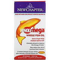 Жир Аляскинского Лосося 1000мг, Wholemega, Alaskan Salmon Oil, New Chapter, 60 желатиновых капсул