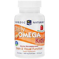 Омега для детей для ежедневного употребления, Daily Omega Kids, Nordic Naturals, 500 мг, 30 Капсул