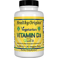 Витамин D3 для Вегетарианцев, Vegetarian Vitamin D3, 5000 IU, Healthy Origins, 30 капсул