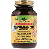 Ашваганда (Экстракт Корня), Ashwagandha Root Extract, Solgar, 60 капсул