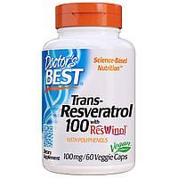 Ресвератрол, Trans-Resveratrol, Doctor's Best, 100 мг, 60 гелевых капсул