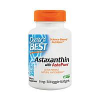 Астаксантин,  Astaxanthin AstaPure, Doctor's Best, 6 мг, 30 капсул