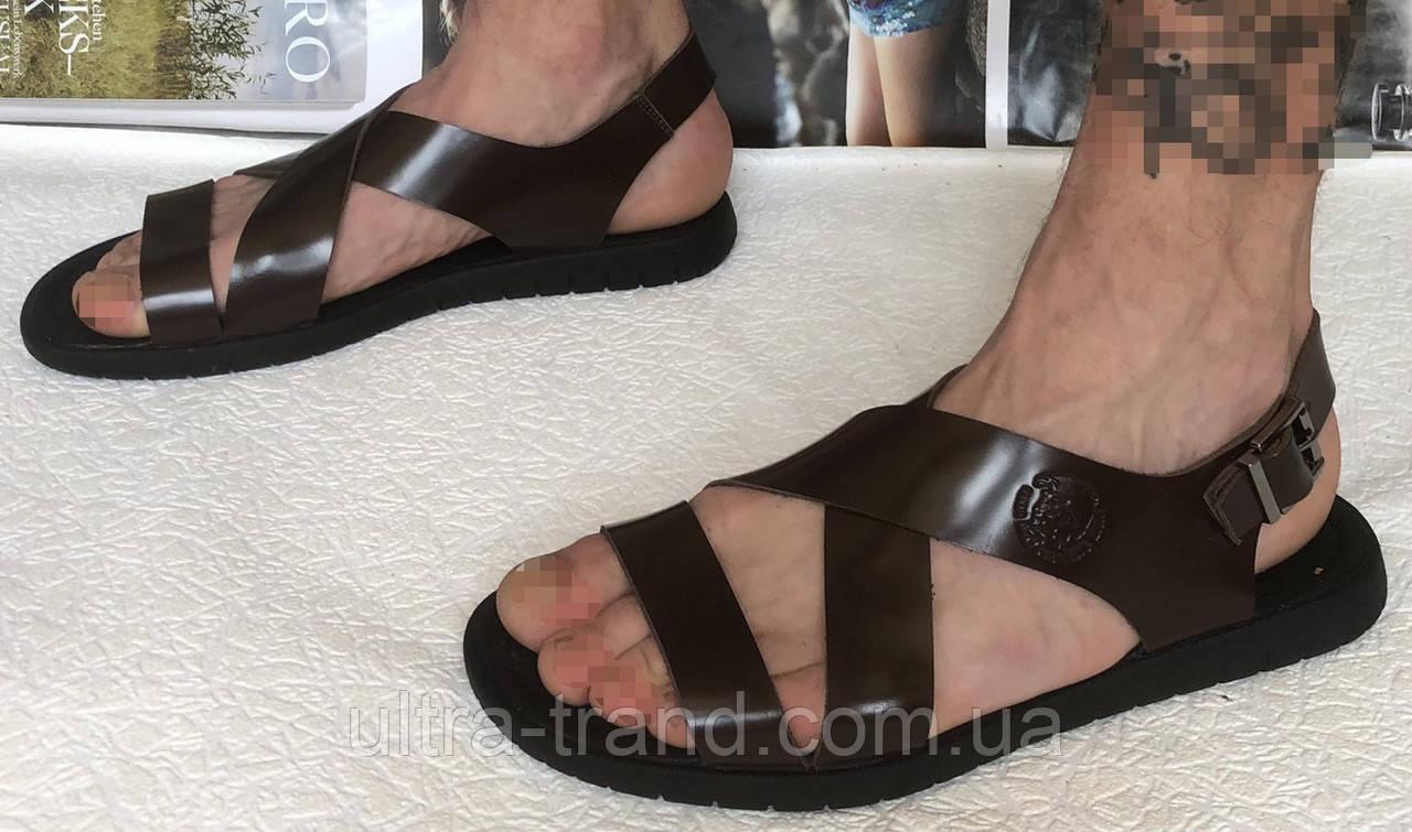 Мужские кожаные коричневые сандалии Diesel casual !