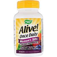 Мультивитамины Для Женщин, Alive! Once Daily, Women's 50+ Multi-Vitamin, Nature's Way 60 Таблеток