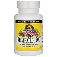 Ресвератрол, Resveratrol, Source Naturals, 200 мг, 60 таблеток