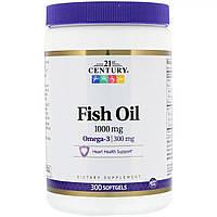 Рыбий жир, Омега-3, 1000 мг, 21st Century, 300 мягких таблеток