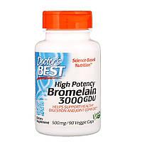 Бромелайн, Bromelain, Doctor's Best, 500 мг, 90 капсул