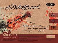 Скетчбук А5, 40 аркушів, пружина, кремовий блок 100 г/м2, червоний, ART Line