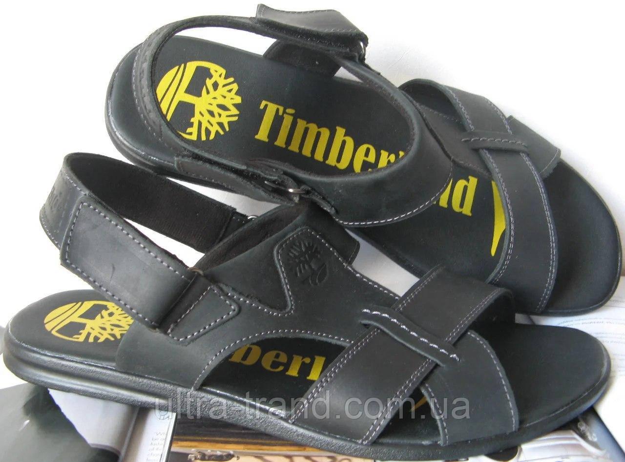 Мужские босоножки Timberland черные кожаные сандали сандалии обувь лето