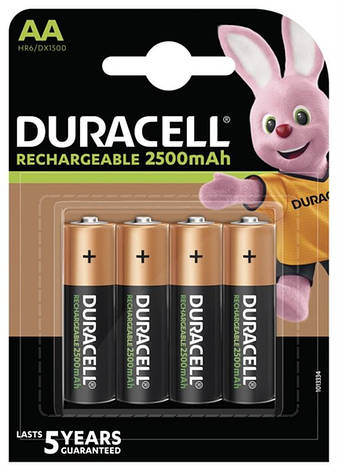 Акумулятор Duracell Rechargeable DX1500 Ni-MH AA/HR06 2500 mAh BL 4шт, фото 2