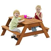 Детская Деревянная Песочница-стол с двумя лавками, раздвижной столешницей для игр с песком и водой для улицы