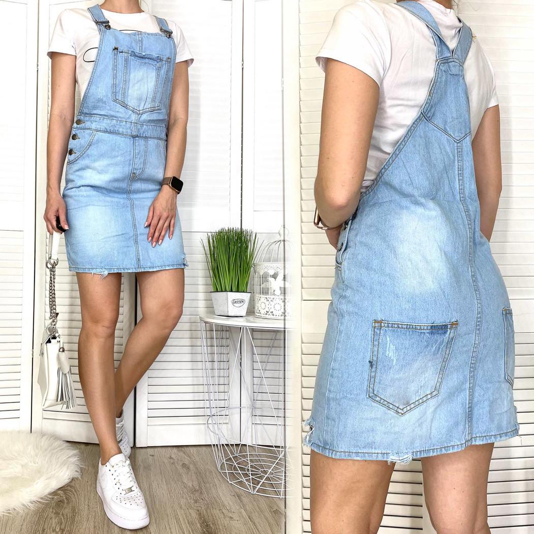 3305-5 Y Relucky сарафан джинсовий полубатальный синій весняний стрейчевий (28-33, 6 од.)