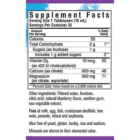 Жидкий Кальций Цитрат Магния + Витамин D3, Вкус Черники, Bluebonnet Nutrition, 16 жидких унций (472 мл), фото 2
