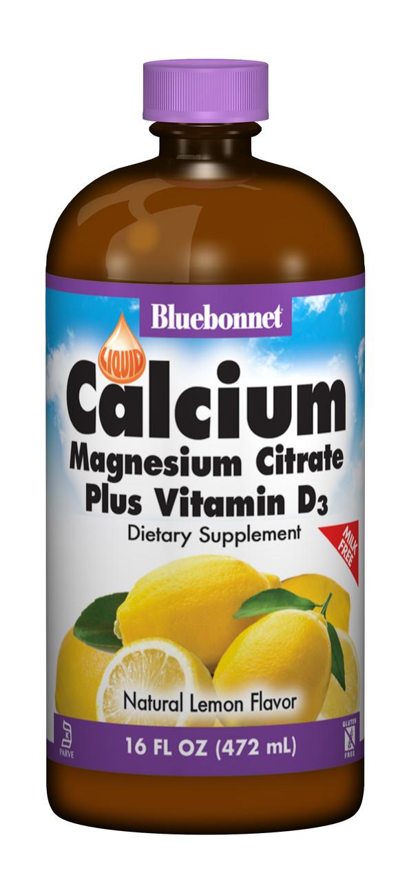 Жидкий Кальций Цитрат Магния + Витамин D3, Вкус Лимона, Bluebonnet Nutrition, 16 жидких унций (472 мл)