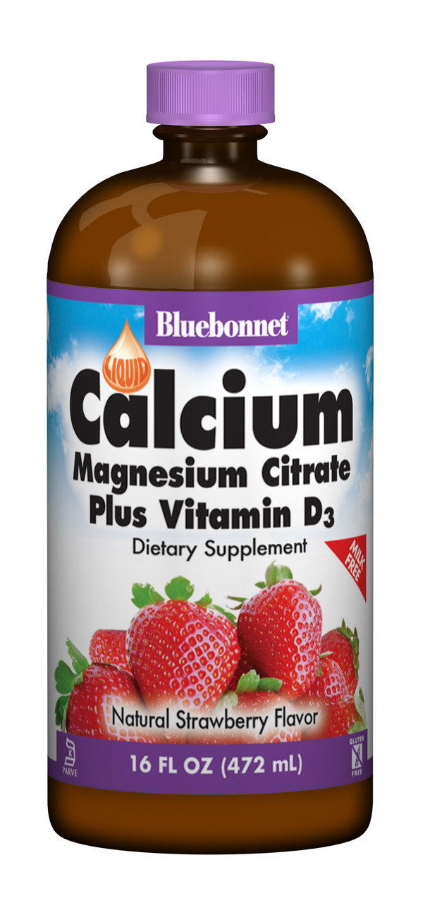 Жидкий Кальций Цитрат Магния + Витамин D3, Вкус Клубники, Bluebonnet Nutrition, 16 жидких унций (472 мл)