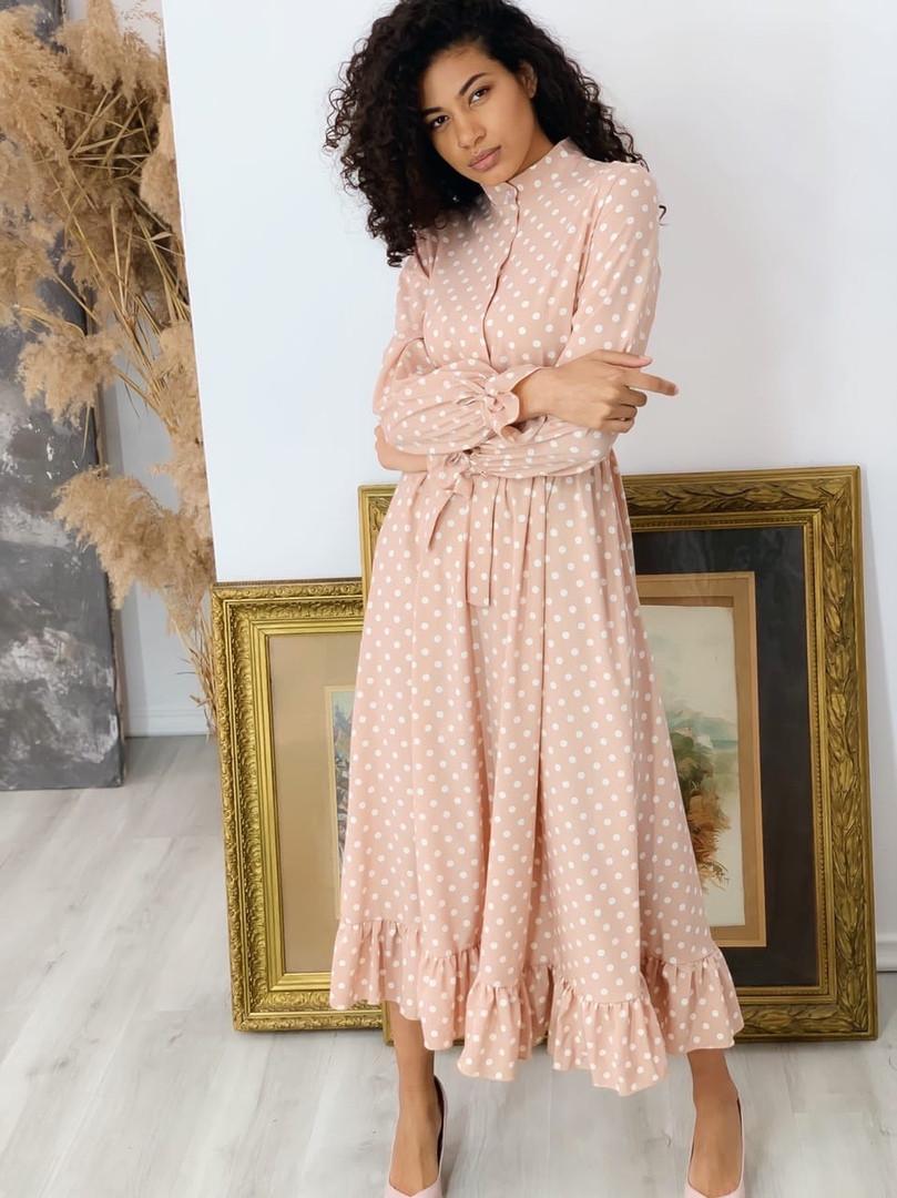 Літнє плаття пояс на резинце, тканина: італійський софт. Розмір: З(42-44)М(44-46)Колір: персик(2122)