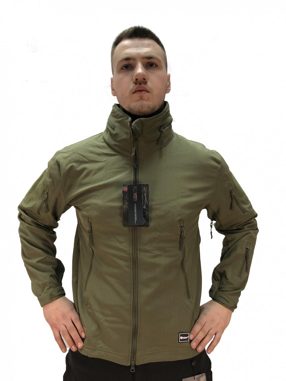 Тактична куртка Softshell Tactic 02. ESDY. Капюшон ховається. Олива